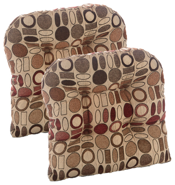 "Gripper Non-Slip 15""x15"" Corona Tufted Universal Chair Cushions, Set Of 2."