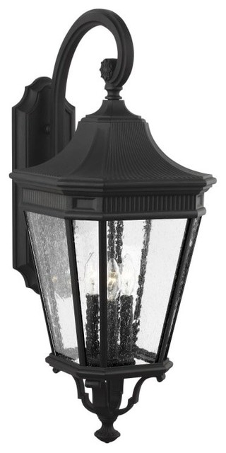"""Feiss OL5422 Cotswold Lane 3 Light 23-3//4/"""" Tall Outdoor Wall Sconce with Seeded"""