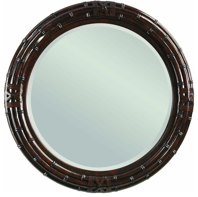 Tommy bahama home island traditions newbury round mirror for Tropical bathroom mirrors