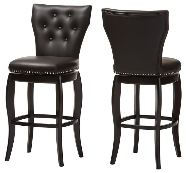 Surprising Leonice Faux Leather Button Tufted Swivel Bar Stools Set Of 2 Dark Brown Pabps2019 Chair Design Images Pabps2019Com