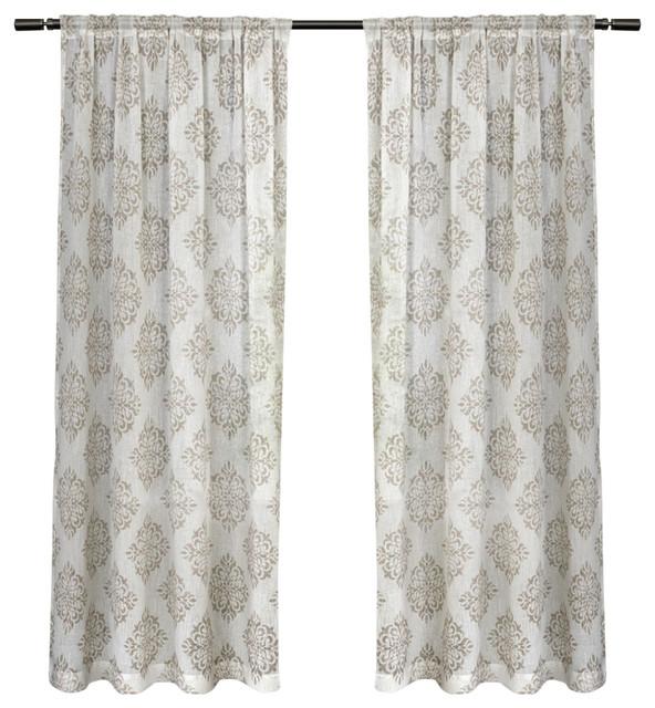 "Nagano Rod Pocket Top Curtains, Set Of 2, Taupe, 54""x108""."