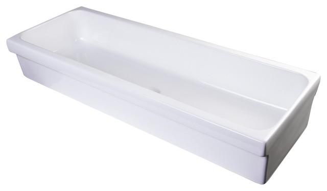 "ALFI Brand AB48TR 48"" White Above Mount Porcelain Bath Trough Sink"