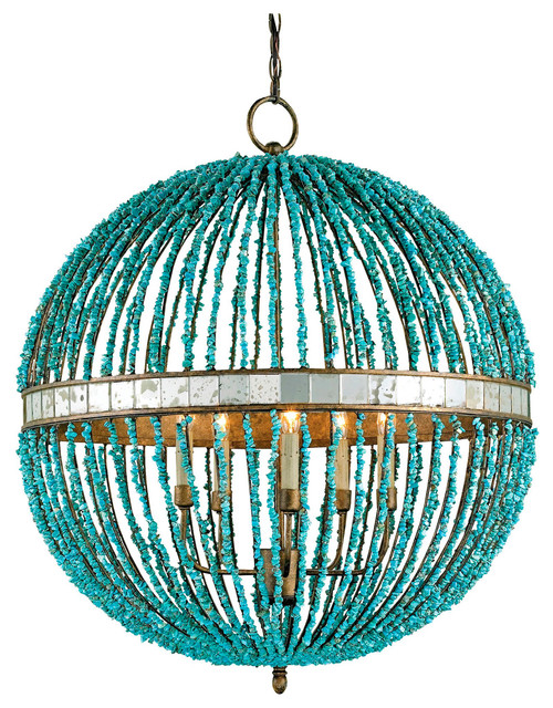 lorenz contemporary turquoise beaded 5 light orb pendant light eclectic pendant lighting beaded lighting