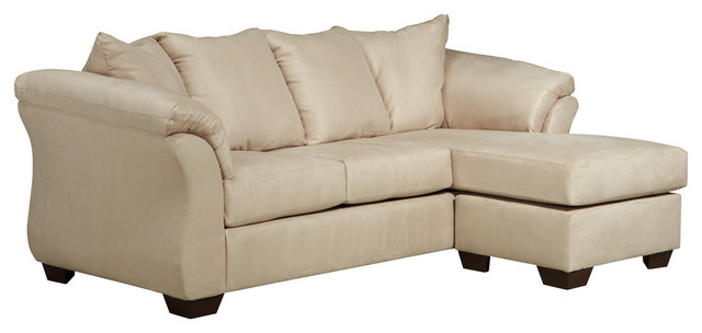 Signature design by ashley darcy sofa chaise cafe for Ashley microfiber sectional with chaise