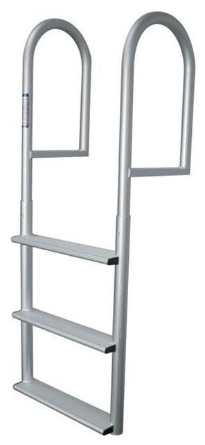 Jif Marine 4-Step Stationary Dock Ladder, Anodized Aluminum.