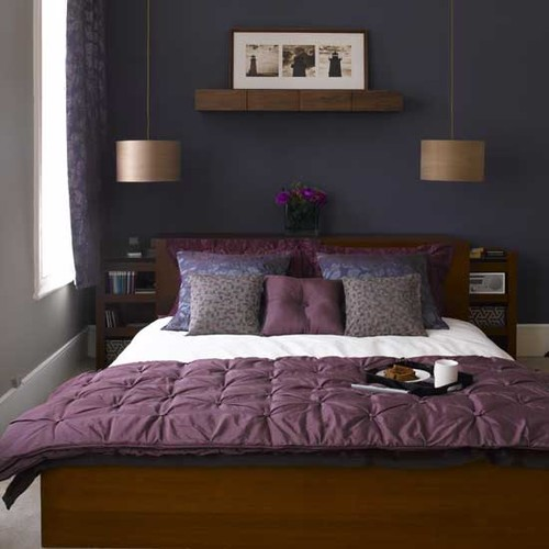 Eggplant And Grey Bedroom - Home Design Ideas and Pictures