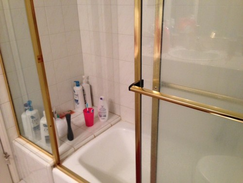 Inexpensive shower door solution and other questions