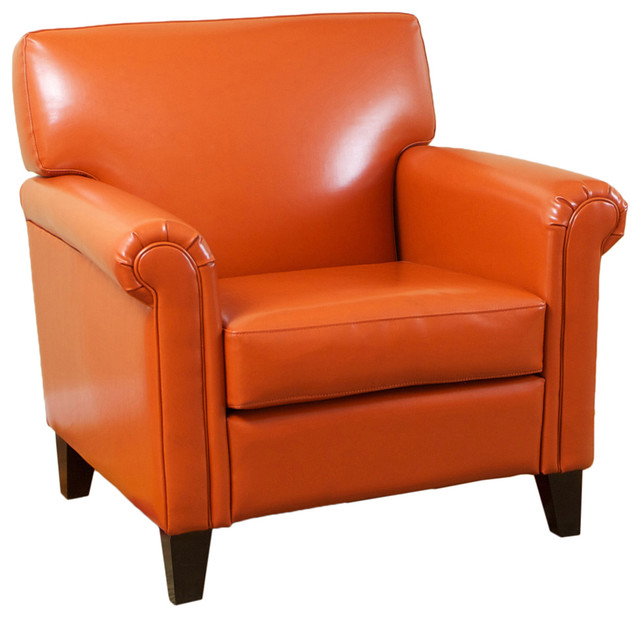 Canton Leather Club Chair, Orange contemporary-armchairs-and-accent-chairs