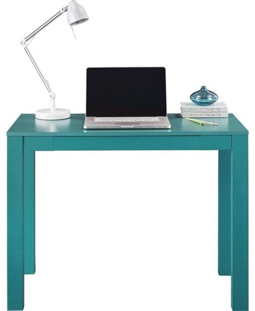 Altra Furniture Parsons Writing Desk White and Teal