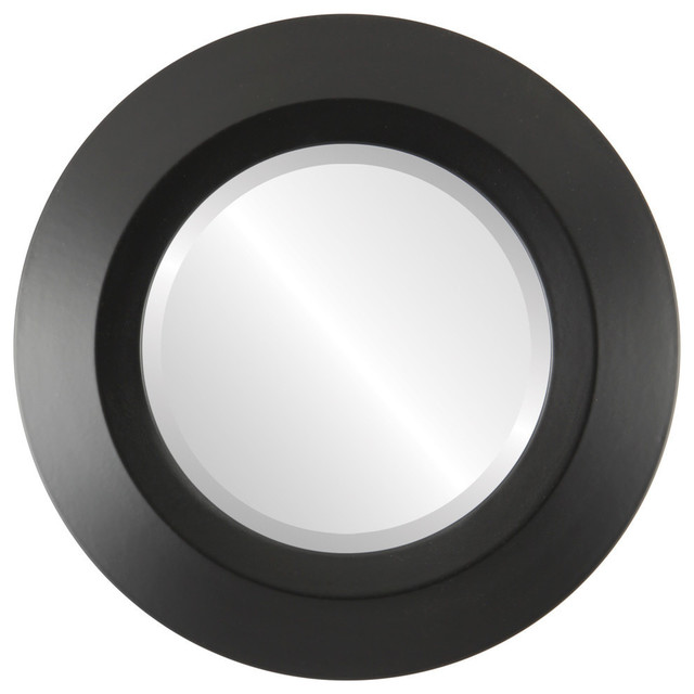 """Veneto Framed Round Mirror In Matte Black, 35""""x35""""."""