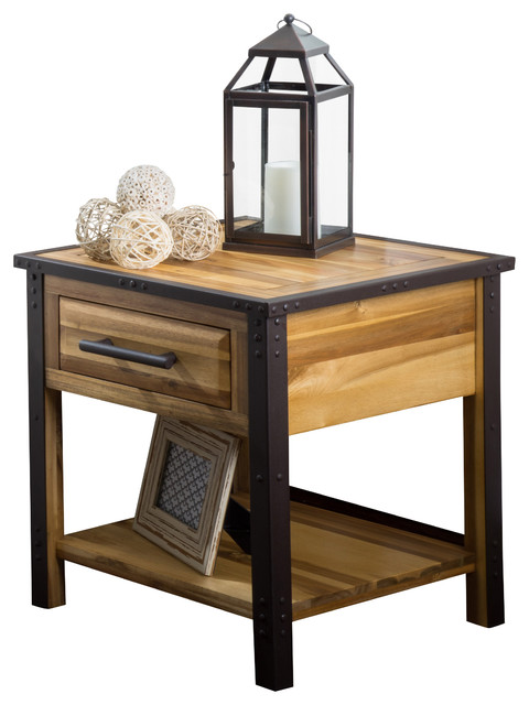Glendora Wood Single Drawer Nightstand End Table, Natural Stain.