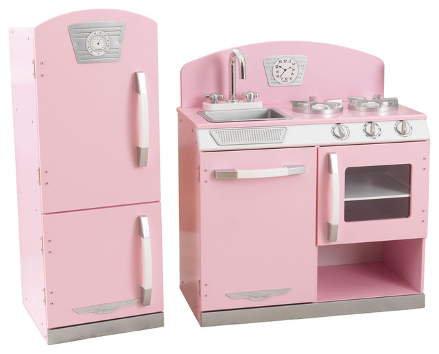 Kidkraft Retro Kitchen With Refrigerator Pink