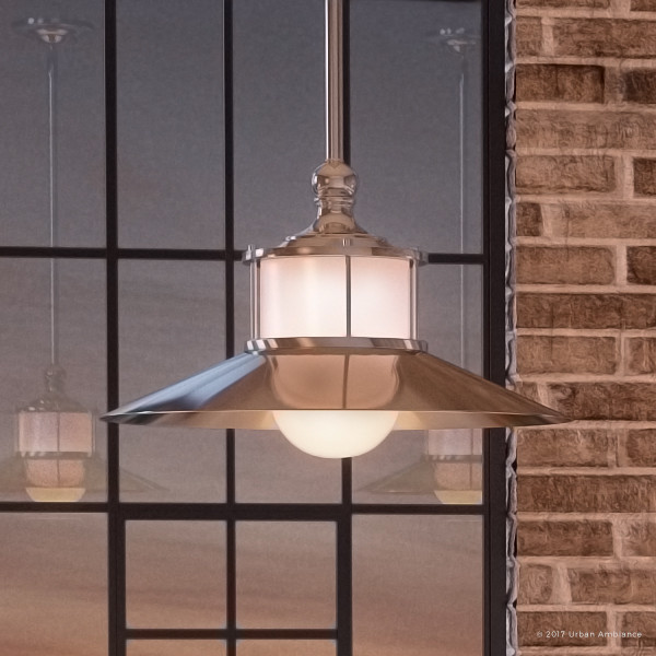 Nautical Nickel Hooded Pendant Light