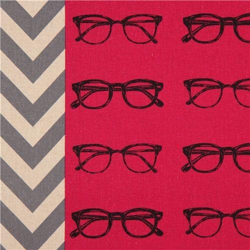 hot pink glasses canvas echino fabric glasses Chevron