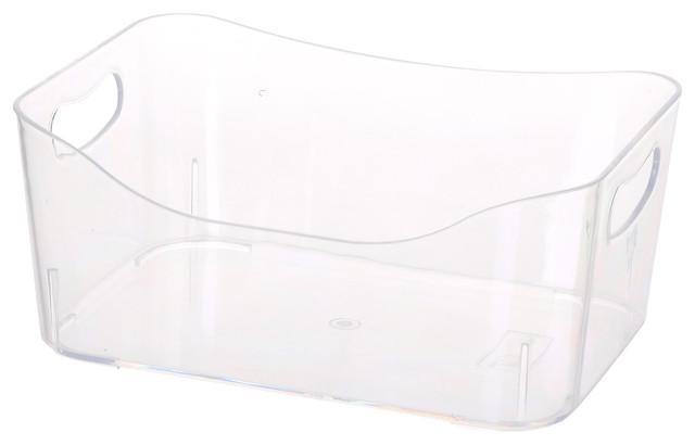 Open Bin Storage Basket Under Cabinet Caddy, Clear.