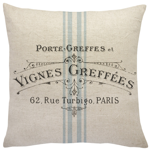 French Grainsack Linen Throw Pillow. -1