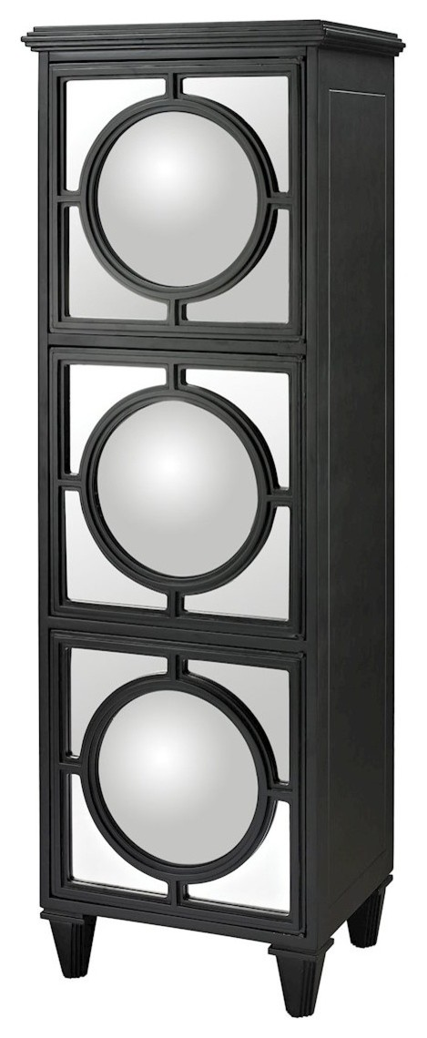 Mirage Mirrored Shelf Unit, Gloss Black