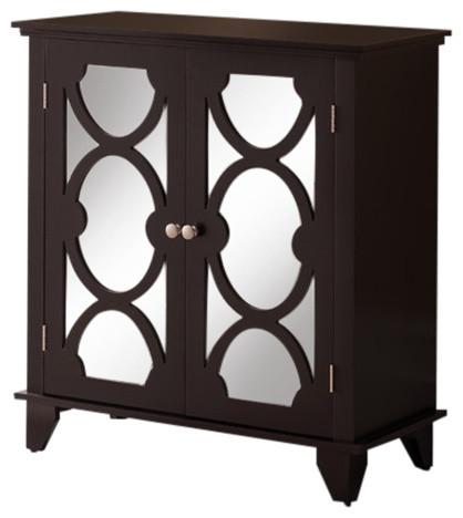 Nafshi Dark Cherry Wood & Glass Transitional Buffet Server Storage Table