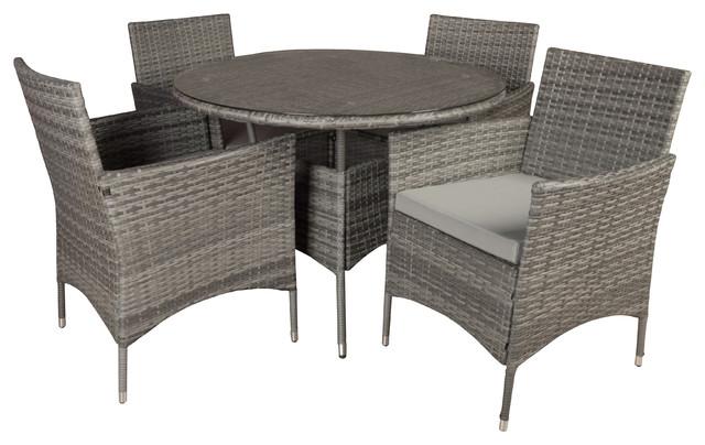 5-Piece Outdoor Patio Dining Set, Rattan Wicker, Gray.