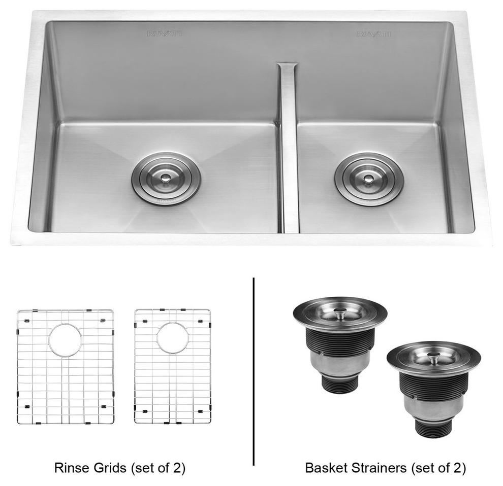 Ruvati 28-Inch Low-Divide Undermount Tight Radius 60/40 Double Bowl Kitchen  Sink