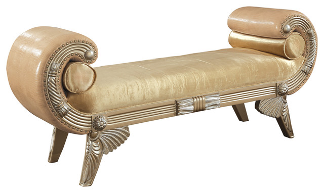Bellevue Bench With Leather Upholstery.