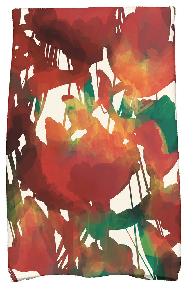 Abstract Floral Contemporary Bath Towels By E By Design