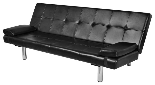 Vidaxl Sofa Bed With Two Pillows Artificial Leather Adjustable Black Couch