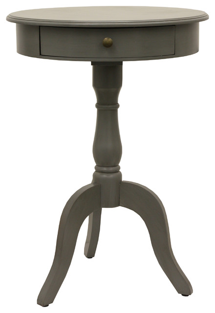 Pedestal Table With Drawer Eased Edge Gray.