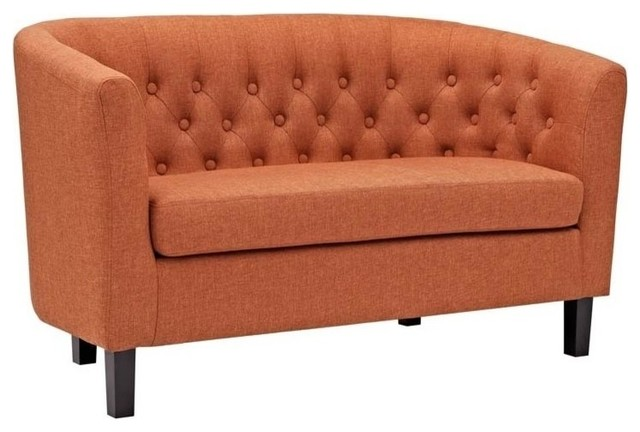 Hawthorne Collection Upholstered Fabric Loveseat, Orange.