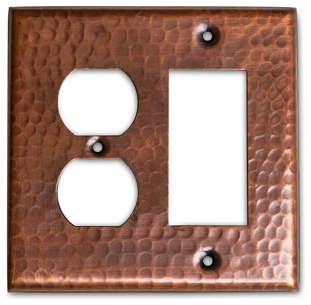Monarch Pure Copper Hammered Rocker Duplex Wall Plate