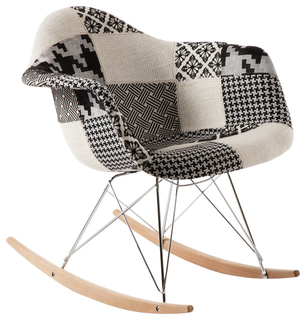 reputable site 8d365 66757 Edith Rocking Chair, Black And White Patchwork