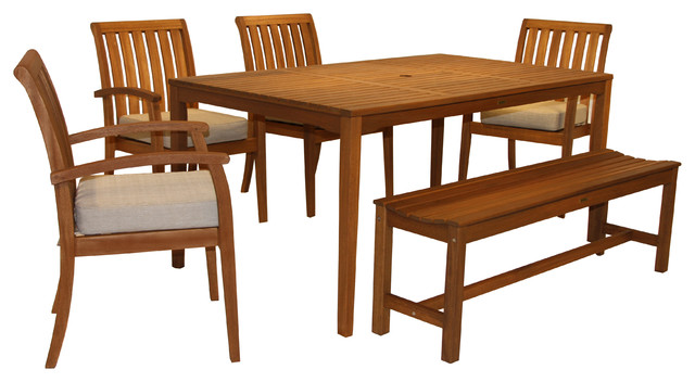 6 Piece Eucalyptus Dining Set Contemporary Outdoor Dining Sets By Outdo