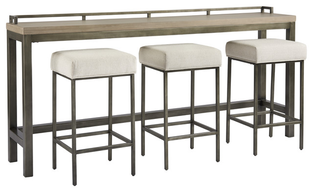 Universal Furniture Modern Mitchell Console with 3 Stools