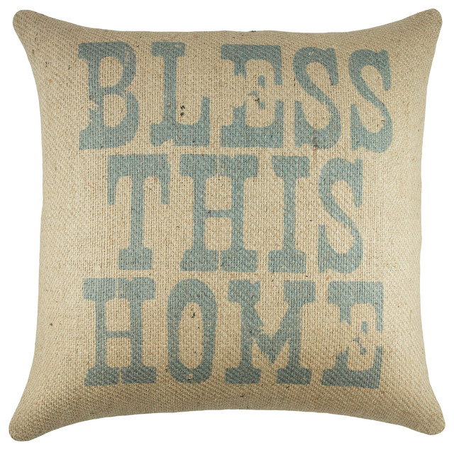 """bless This Home"" Burlap Pillow."