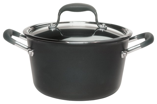 Advanced Hard-Anodized Nonstick 4-1 And 2-Quart Tapered Saucepot, Gray.