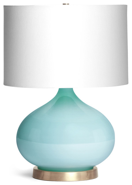 Candace Contemporary Robins Egg Blue Glass Table Lamp
