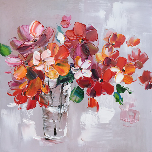 Hand Painted Flowers In Vase Wall Decor Artwork Iii.