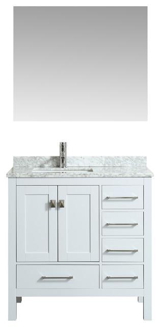 Eviva London 36 Transitional White Bathroom Vanity W/ White Carrara Marble Top.