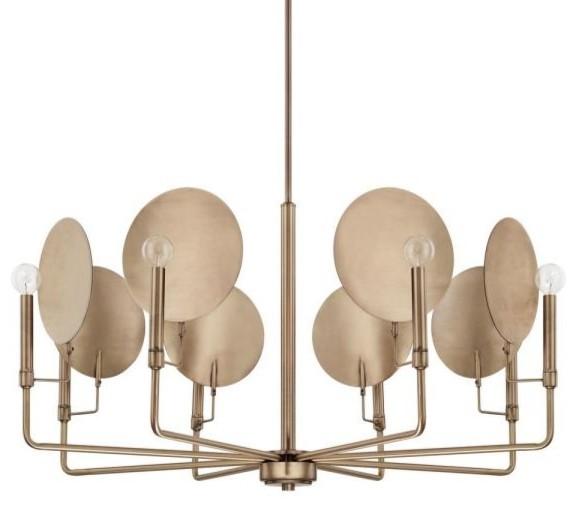 Capital Lighting Wells, Eight Light Chandelier, Aged Brass Finish