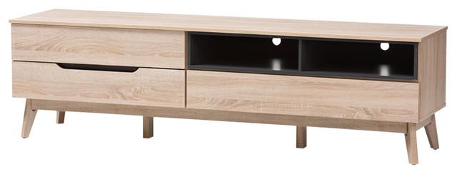 Fella Mid-Century Modern Wood Tv Stand, Light Brown, Gray.