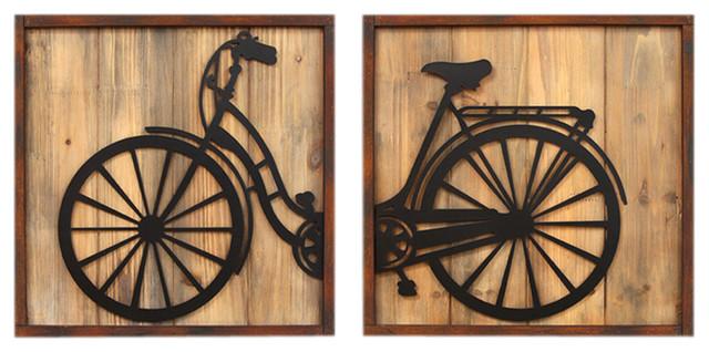 Stratton Home Decor 2 Piece Retro Bicycle Panels Wall Decor Set