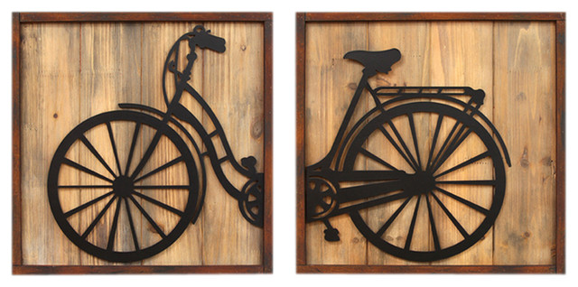 Retro-Style Bicycle Panels Wall Decor, 2-Piece Set modern-metal-