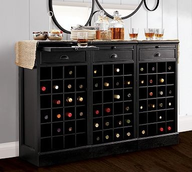 New Pottery Barn Montego Wine Cabinet Mahogany Stain for Sale in