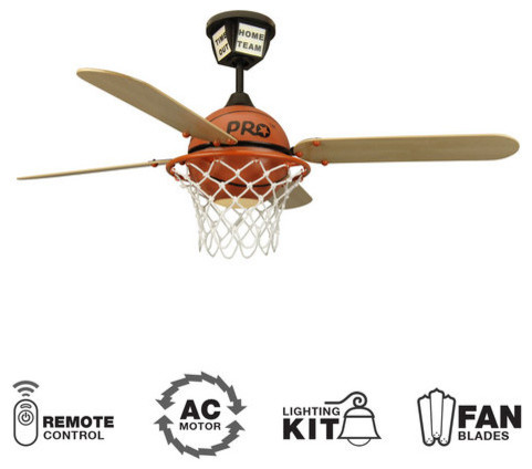 """Youth Fans 52"""" 4 Blade Indoor Ceiling Fan - Blades, Remote And Light Kit."""