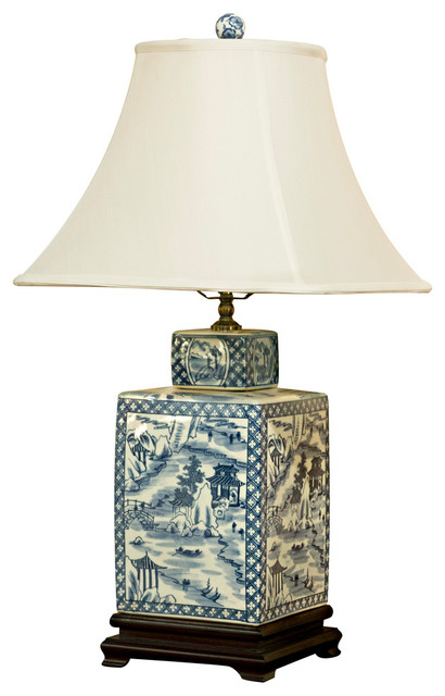 Blue And White Porcelain Tea Jar Lamp With Silk Shade