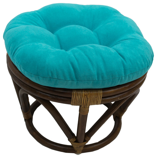 18 Round Solid Micro Suede Tufted Footstool Cushion, Aqua Blue.