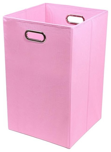 Modern Littles Rose Solid Pink Folding Laundry Basket