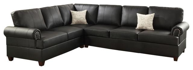 2 Pcs Black Bonded Leather Reversible Sectional Sofa.