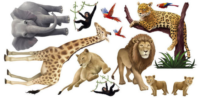 jungle animal mural contemporary wall decals by create a mural