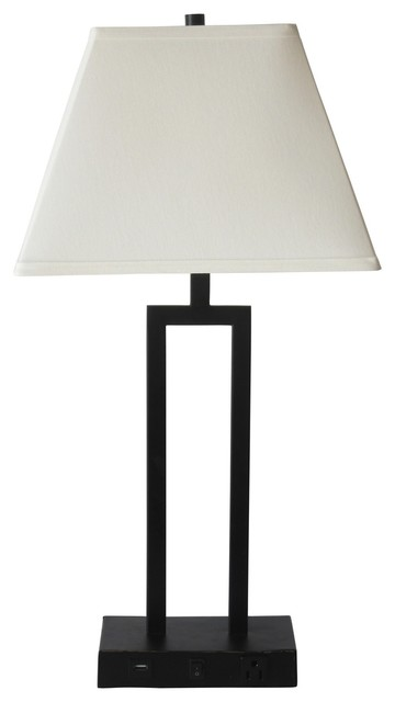 """27"""" Tech-Friendly Metal Table Lamp, Bronze With 1 Outlet And 1 Usb Port In Base."""